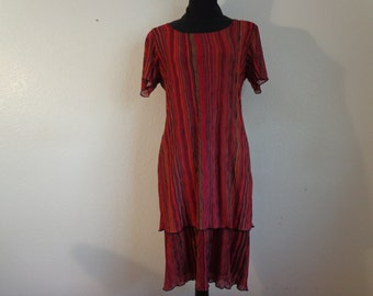 Vintage Colorful Striped Pull Over Dress - Size 8