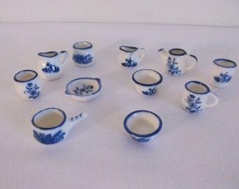 Vintage Blue Porcelain Collectibles - 13 Pieces