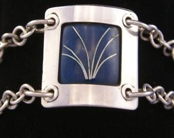 Enamel fine silver and sterling silver bracelet