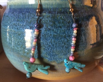 Vintage Native American Indian turquoise earrings, Zuni bird fetish earrings, vintage American Indian jewelry