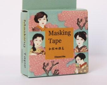 Design Washi tape Geisha cherry blossoms