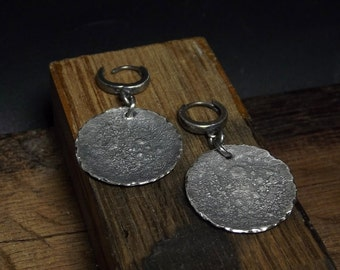 Raw sterling silver earrings Oxidized