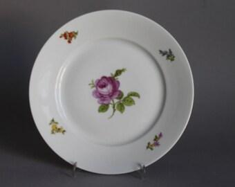 """Nymphenburg Flowers Cake Plate 7.48"""" in Diameter handpainted Germany #2"""