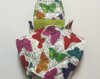 Pot Holder Set,Pot Holders,Butterfly,Kitchen Accessories,Towel Set,Quilted Trivet,Quilted Hot Pad,Grandma Gift,Oven Mit,Quilted Pot Holders