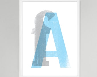 Initial Over Print Personalized Baby/Kids Art (Blue, Large)