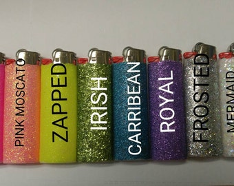 Set of 6 Glitter Lighters, Great Gift, Fun, Candles