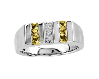 Men's Citrine Ring With Genuine Diamonds In Sterling Silver