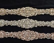 Crystal Rhinestone Applique - Rose Gold Applique - Gold Bridal Applique - Bridal Fabric - Rhinestone Trim - Rhinestone Motif TR48