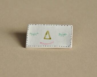 sleepy // polymer clay pin