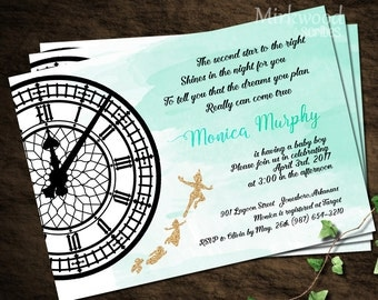 Peter Pan Baby Shower Invitation |  Neverland Baby Shower |  Watercolor Glitter Tinkerbell and Peter Pan Storybook Shower