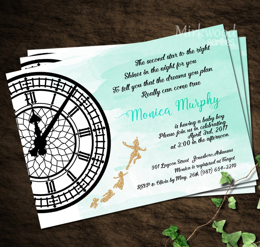Peter pan baby shower invitation neverland baby shower for Peter pan invitation template