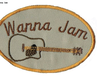 Guitar Iron On Patch  Wanna Jam?