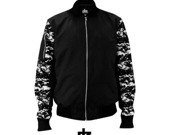 Bomber Jacket Black Military Camouflag Pixel Health Gothic SportWear Mens Clothing Chaqueta Menswear Coat