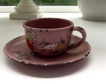 Vintage Pink Enamelware Child's Cup and Saucer Set from Germany