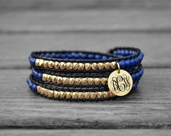 Personalized Bracelet Initial Bracelet Leather Bracelet Wrap Bracelet Beaded Bracelet Customized Leather Wrap Bracelet Christmas Bracelet
