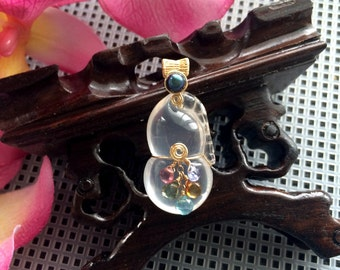 Gold Filled Wire Wrapped Glowing Carved Natural Moon Quartz Wu Lou/Gourd Pendant with Multi-Colored Gemstone Briolettes