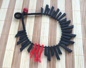 Natural Matte Black Onyx and Bright Red Coral Asymmetrical Design Beaded Necklace