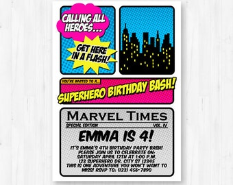 Girl Superhero Invitation - Printable Supergirl Birthday Party Invitation - Instant Download with Editable Text
