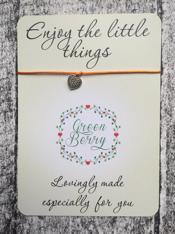 "Patterned Heart charm String Bracelet on ""Enjoy the little things"" quote card madebygreenberry wish bracelet"