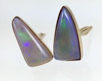 14K Gold Natural Australian Crystal Opal Cufflinks - Vintage 14K Opal Cufflinks Toggle Backs, October Birthstone, 34th Anniversary CFL3540