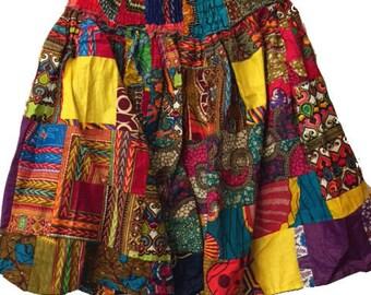 African Patch Batik Skirt (pw810)