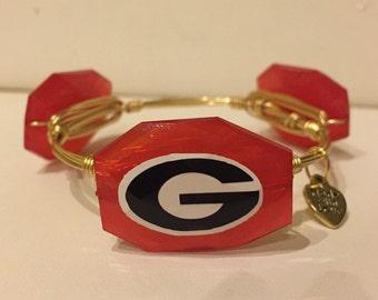 Georgia Bulldogs Wire Wrapped Bangle Bracelet University of Georgia Gameday Bangle Bracelet