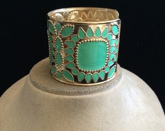 Vintage Wide Green Enameled Cuff Bracelet