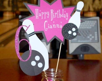 Bowling Birthday Centerpiece, Bowling Party, Customized Centerpiece, Birthday centerpiece, Bowling centerpiece