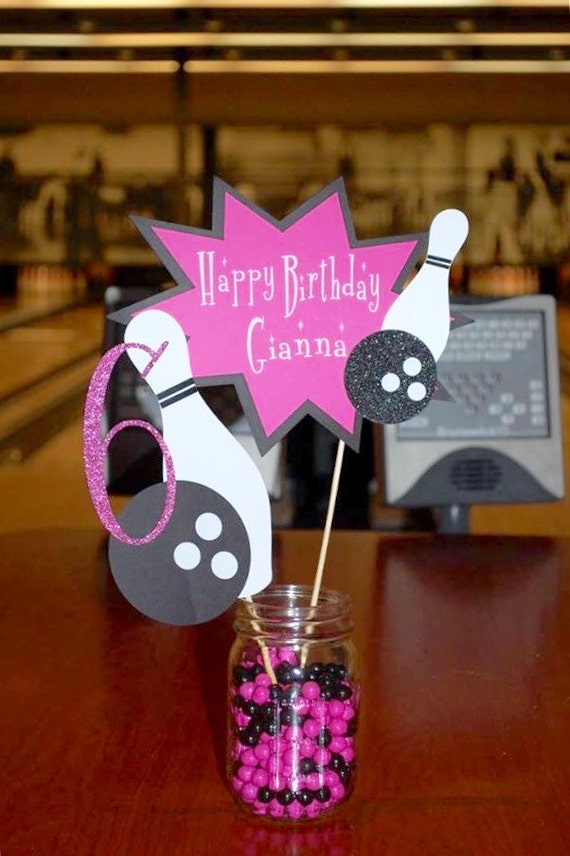 Bowling birthday centerpiece party customized