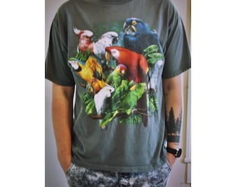 90s Wild Gear colorful parrot tee
