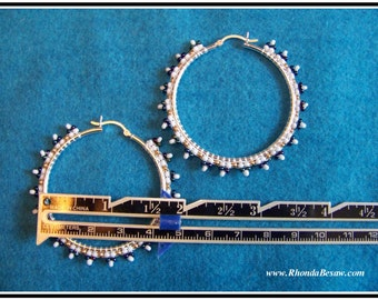 Sterling Silver Hand Beaded Hoop Earrings