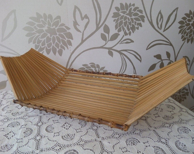 """Mid Century Bamboo Fruit Bowl, Folding Sides, Vintage 1960's Wooden Fruit Basket 14.5"""" x 7.75"""" x 4"""" high, Excellent Condition"""