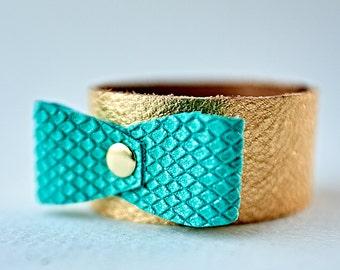 Teal Bow Bracelet, Bow Jewelry, Girls Bracelet, Leather Bow Cuff, Aqua Teal Bow Bracelet, Girl Toddler Gift, Dainty Bracelet, Child Bracelet
