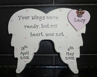 Personalised Angel Wings Memorial Plaque