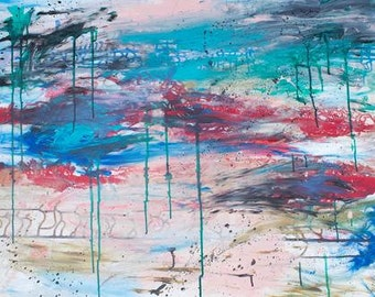 """Large abstract painting acrylic fluid and heavy body red lines with green drips 30x40"""""""