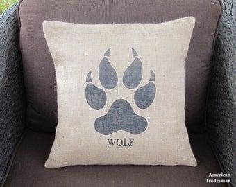 Burlap Pillow- Wolf Paw Pillow, Wolf Pillow, Woodland Nursery, Lodge Decor, Animal Pillows, Cabin Decor