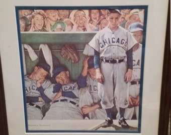 Framed Norman Rockwell Print-Dugout/Rookie