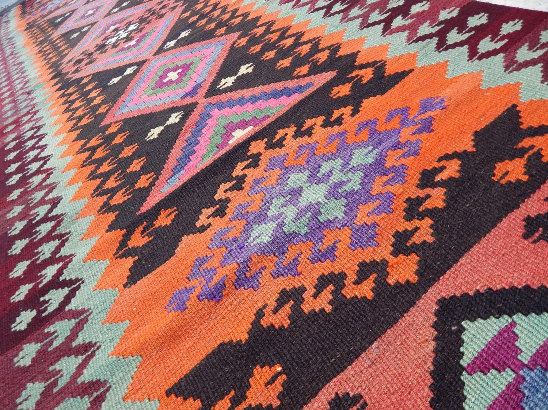 Pink Boho Kilim Runner Rug Bohemian Aztec Design Hallway