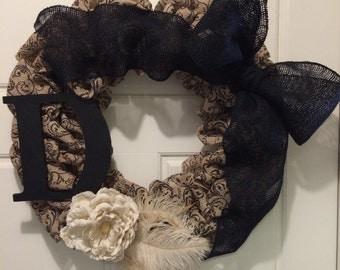 Black Initial Wreath