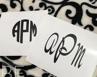 Matte Black Monogrammed Decal Sticker