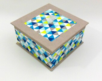 Geometric - geometric shades of turquoise and taupe patterns square box square box