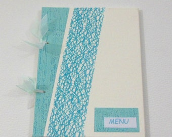 Turquoise and white wedding MENU