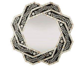 Mother of Pearl Wall Mirror, Black , Mother Of Pearl Mirror Frame , Bone Inlay Mirror