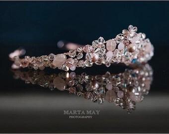 Rose gold tiara, blush tiara, wedding tiara, bridal tiara, pink tiara, crystal tiara, crystal and pearl tiara