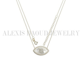 The 'Parais' Mother of Pearl Evil Eye Necklace