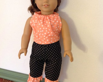 18 Inch Doll Clothes, AG Doll Clothes, Capri's, Halter Top, Polka Dots