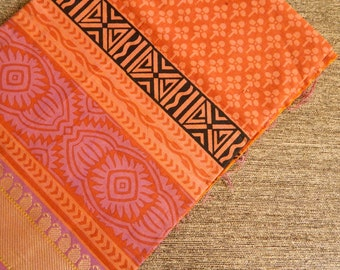 1 yard of South Cotton Fabric, Handwoven Fabric, Indian Cotton Fabric, Indian Fabric, Orange Fabric