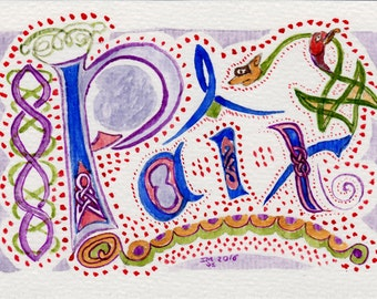 French word :Paix-watercolor painting-celtic-Original painting-