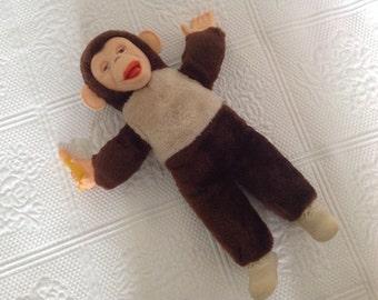 Vintage Rubber Face Monkey Stuffed Plush Animal Chimp Mid Century Toy Antique