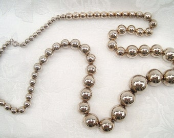 "SOLD *** Vintage Heavy Sterling Silver Graduated Ball Bead Necklace on FINE Chain - STUNNING 29"" Long"